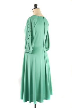 Vintage green dress with detailing on arm, Size 14