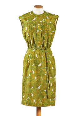 Harrods Orange and Lemons Print  Dress c.1960s - Size 8