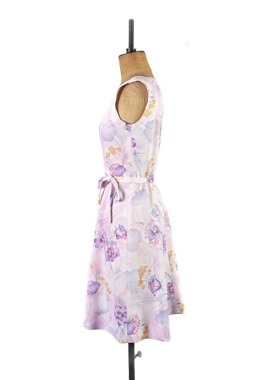 Lilac Floral Vintage Dress, Size 12