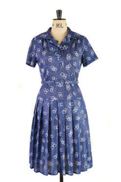 Ink Blue Belted Dress - Margot & Hesse, Unique Handmade Vintage - Size 12