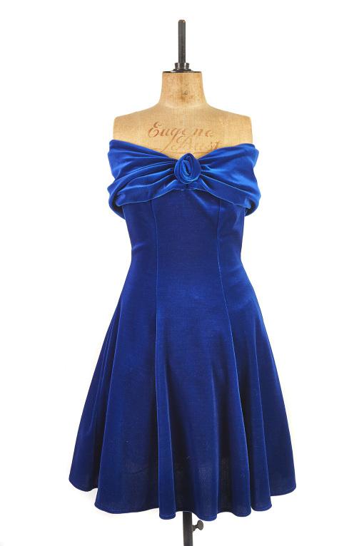 Blue Velvet Dress by Hamells c.1980