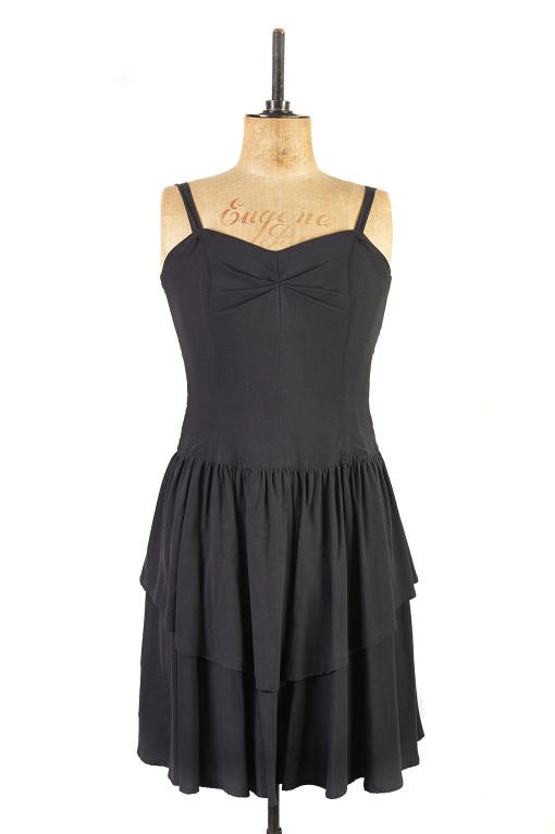 Black Cocktail Dress c.1980s - Size 14