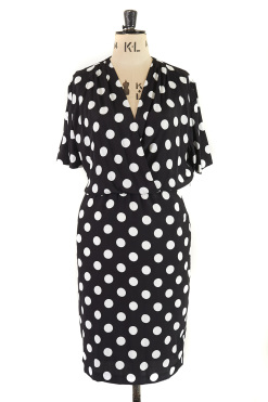 Monochrome Polka Dot Vintage Dress Size 14