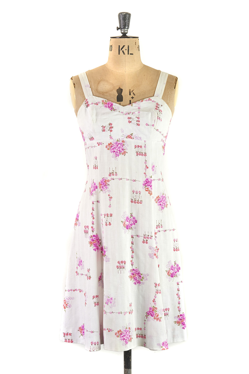 white and pink strappy floral vintage sun dress by Horrockses 1960