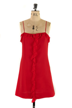 Red 1970s Party Dress