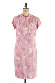 Pink Floral Carnegie of London 1960s vintage shift dress - Size 10