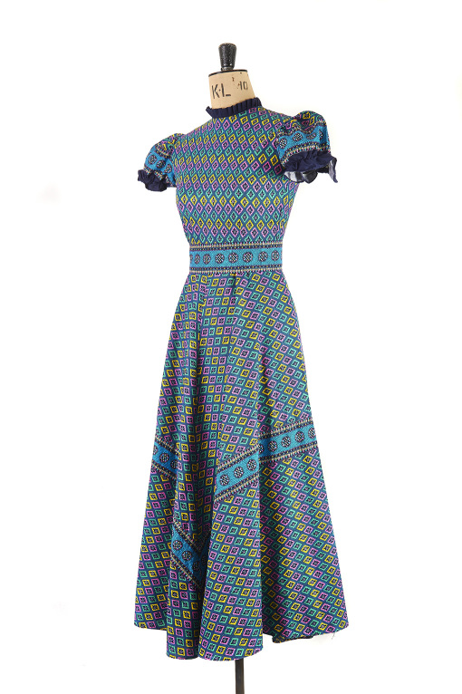 Psychedelic Print Maxi Dress, 70s, Size 8