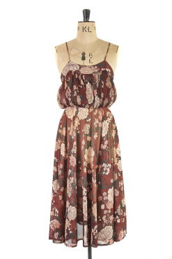 Brown Strappy and flowery vintage Sundress by Young Edwardian by Arpeja 1970