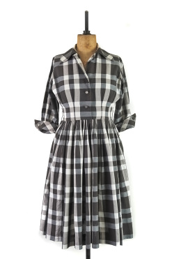 Vintage 1950s Monochrome Shirt Dress by Gig Young, New York