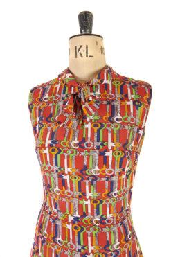 Key Print Dress by Marissa c. 1960s  – Size 10
