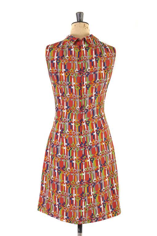 Key Print Dress by Marissa c. 1960s - Size 10