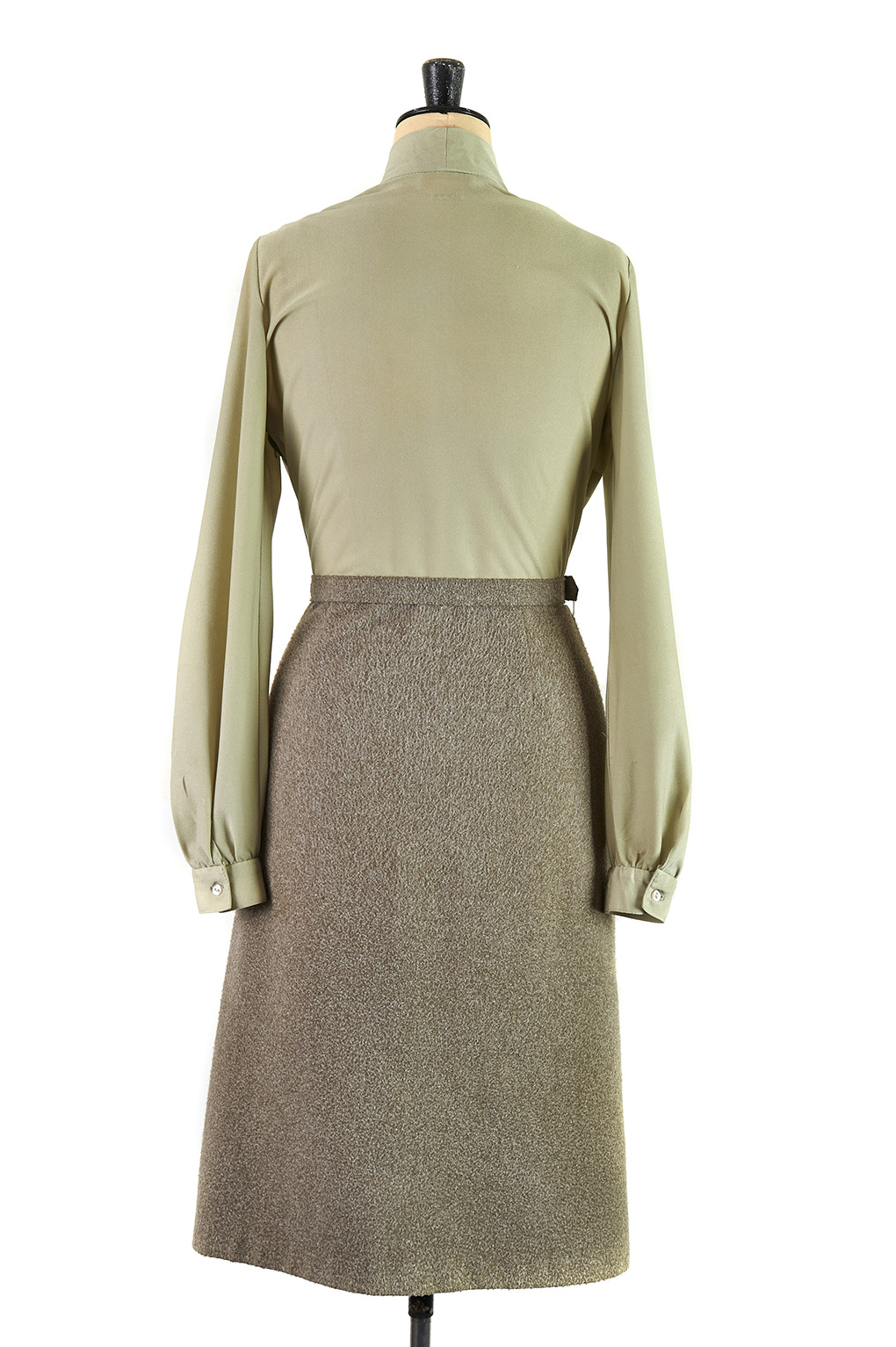 Willow Green Pussy Bow Day Dress by Berkertex - Size 16