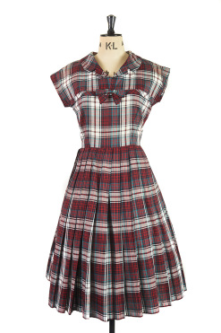 Burns Night Tartan Dress 1950s Dress from Margot and Hesse, demure vintage, quirky print, tartan, cotton vintage dress, best vintage shops in dorset, fun party dress, immaculate vintage, buy new years eve party dress online, high class dresses