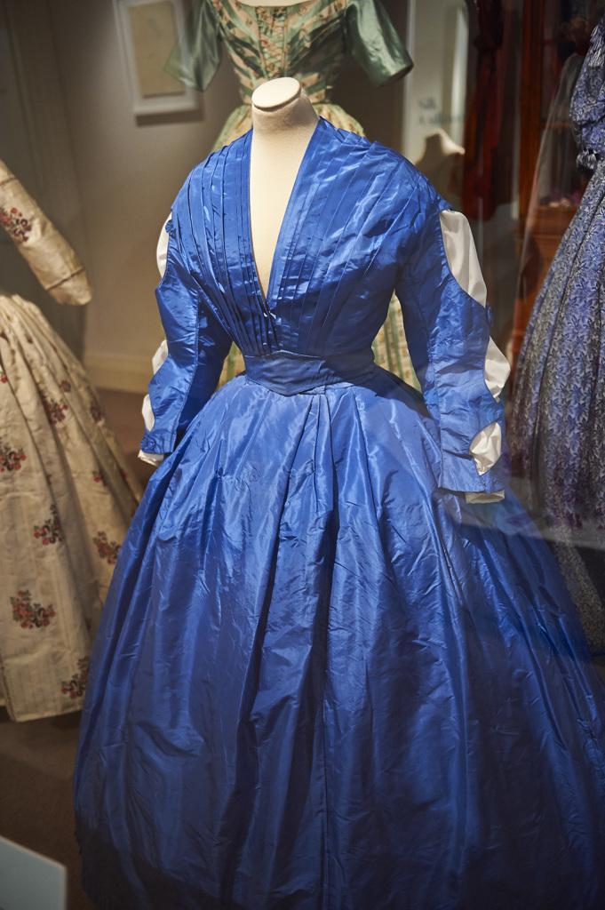 Blue silk taffeta wedding dress c.1961 Fashion Exhibition Exhibtion at Killerton House Review Margot & Hesse