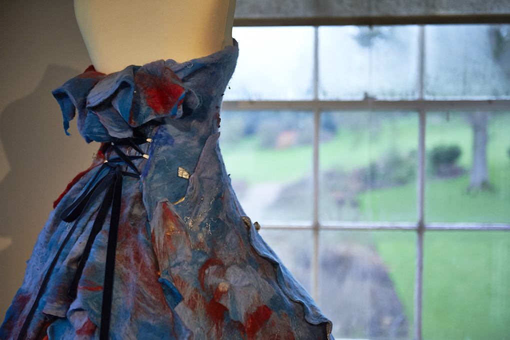 BTEC student Enki Allen'd dress is inspired by the historical dress collection and the trees at Killerton House