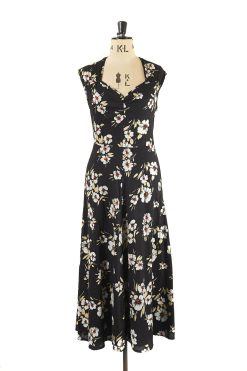 Black Floral Midi Dress with sweetheart neckline