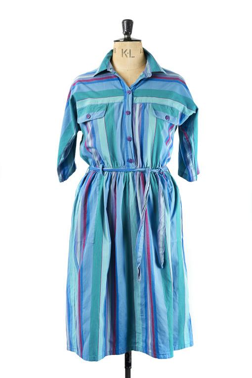 Vintage Shirt Dress, Striped - Size16