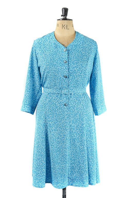 Blue Speckled Vintage Dress - Size 20