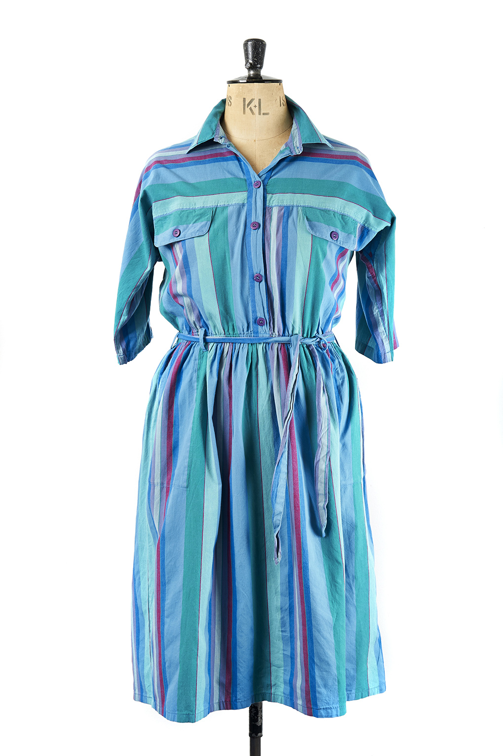 Vintage Shirt Dress, Striped - Size16
