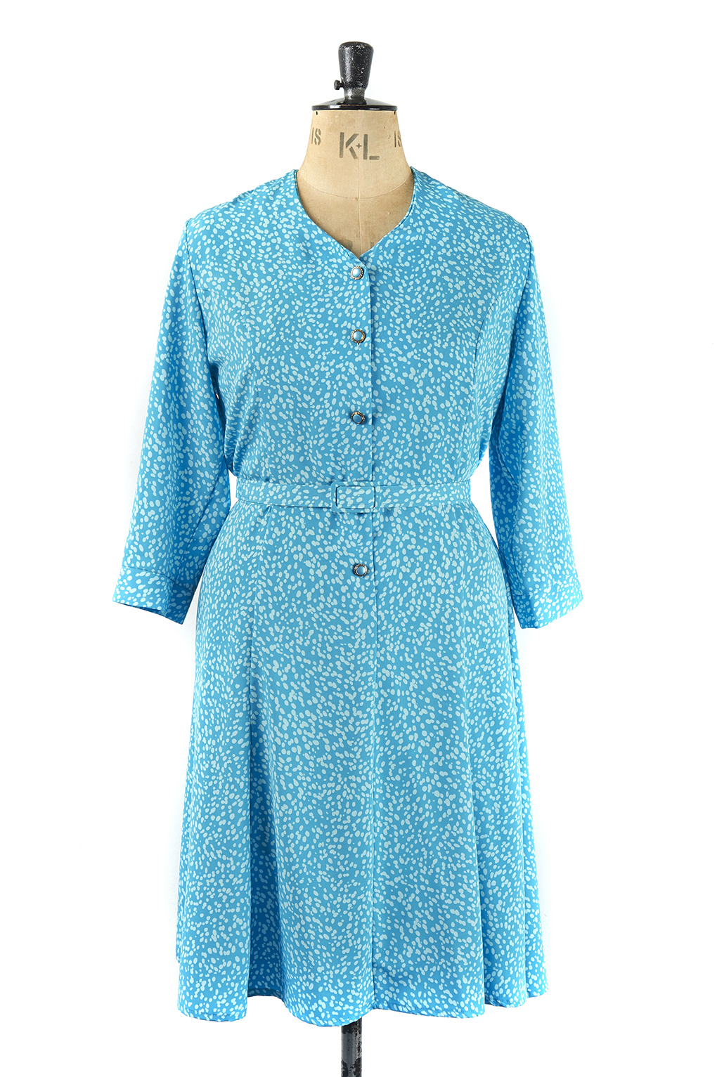 Blue Speckled Vintage Dress - Size 20